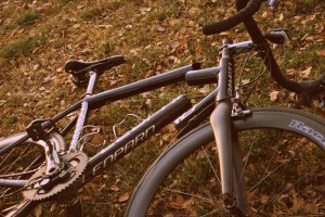 Eric's bike, split in two.
